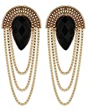#2: Crunchy Fashion Black Metal Dangle & Drop Earring For Women