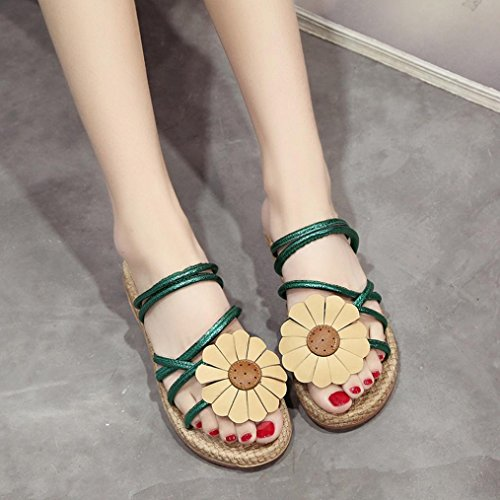 Hunpta Frauen Blumen Flip Sandalen Schuhe Komfort Sommer Flops Mode flache Sandalen Grün