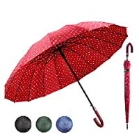 J Stick Umbrella Wave Points Retro 16 Bones Long Handle Enlarged Umbrellas.Windproof & Waterproof to Withstand Rain Sun