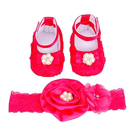 Koly Newborn Baby Bowknot Flower Infant Photography Prop Prewalker Shoes + Headband Set