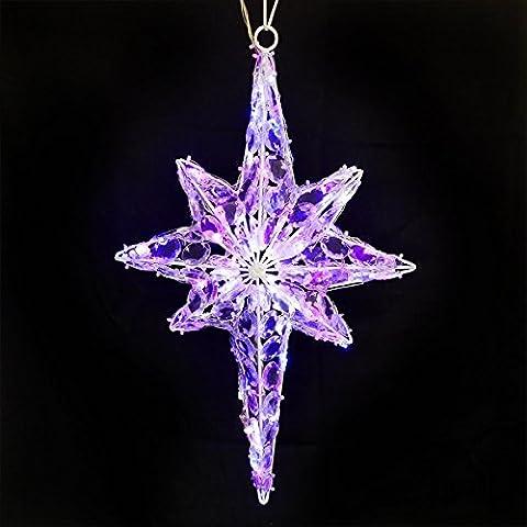 Wandstern Acryl-Stern 50x30 cm in Kristall-Optik mit 81 farbige LED Kristalloptik mit Wechselschaltung für außen