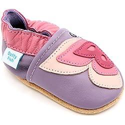 Dotty Fish Chaussures Cuir Souple bébé et Bambin. Filles. Papillon Violet et Rose. 3-4 Ans (27 EU)