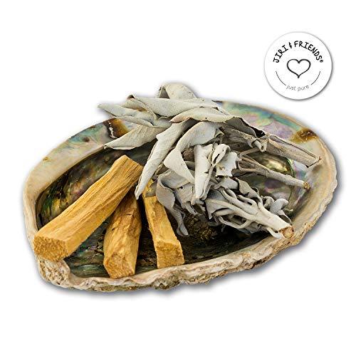 SMUDGE KIT Jiri & Friends Weißer Salbei und Palo Santo und Abalone Muschel Fair Trade Räucherset White Sage Räucherwerk -