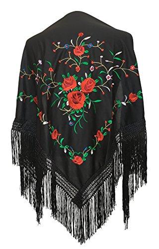 La Señorita Mantones bordados Flamenco Manton de Manila negro con rosas rojo