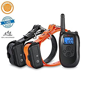[2018 nouvelle version] Collier de dressage à distance TZLong Dog avec rechargeable et imperméable 330 Yard Dog collier pour 2 chiens