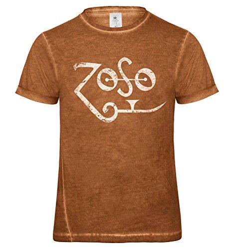 LaMAGLIERIA Herren T-Shirt Vintage Look Zoso White Logo Grunge Print Cod. Grpr0120 - Männer Vintage DNM Plug-in T-Shirt mit Rock Vorderdruck, Medium, Rusty Clash (Zoso Shirt)