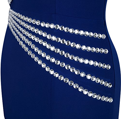 Angel-fashions Femme Une epaule elegante Beading Svelte Robe longue de bal Bleu