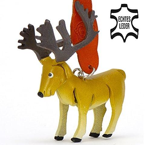 Hirsch Henry - Hirschgeweih Schlüsselanhänger Figur aus Leder in der Kategorie Kuscheltier von Monkimau in braun - Dein bester Freund. Immer dabei! - 5x2x4cm LxBxH klein, jeweils 1 Stück