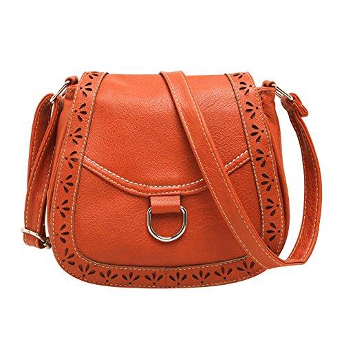 Damen Kunstleder Umhängetasche Hohl Muster Messengertasche Klassisch College Stil Schultertasche Orange
