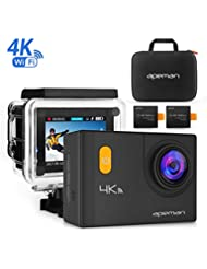 Caméra Sport 4K Wi-Fi APEMAN 20MP Ultra HD Caméra d'Action Etanche 30M Embarquée 170 °Grand Angle 2-inch LCD+Étui de transport+Deux Batteries 1050mAh+Accessoires Multiples(Noir)
