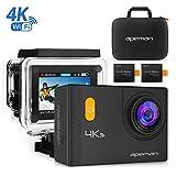 Apeman sous l'eau Caméra d'action 4K Wifi Action Cam 20MP étanche 30m écran LCD de 5,1cm 170Grand Angle double 1050mAh Batteries avec paquet de portable Coque étanche et kit d'accessoires