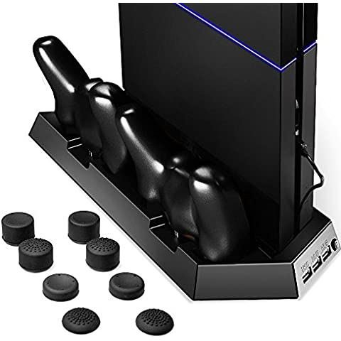 [Mejor estación de enfriamiento Sistema] Zolion refrigerador del ventilador para PS4 Playstation, DualShock 4 controladores con cargador doble puertos de carga estación de apoyos para el pulgar + 8 silicio para Dual Shock