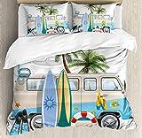 Ensemble de Housse de Couette Surf King Size, Concept de Week-End Surf avec Diving Elements Fins Snorkeling et Van Trip Relax Peace, Set de literie 3 pièces avec 2 taies d'oreiller, Multicolore