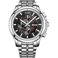 BUREI® Men's Luminous Chronograph Day and Date Watch with Silver Bracelet, Silver Bezel Black Dial