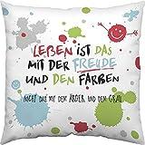 Happy Life 45359 Leben ist das mit der Freude, 40 cm x 40 cm, bunt Kissen, Hülle Baumwolle, Füllung 100% Polyester, Mehrfahrbig