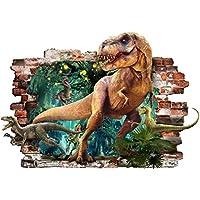 Adhesivos de pared de dinosaurio 3D extraíble PVC Home Mural Decor niños y niñas Juegos de dormitorio T-REX Sticker Adhesivos de pared para sala de niños Jurassic World Adhesivos de pared de dinosaurios Art Extra Large 57cm X 81cm