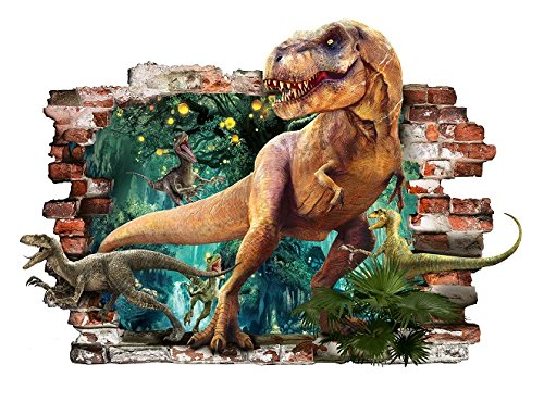 Dinosaurier T-Rex 3D entfernbarer PVC-Aufkleber Hauptdekorativer Aufkleber für Schlafzimmeraufkleber für das Kinderzimmer 57cm X 81cm