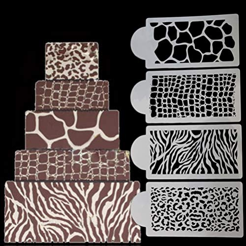 Cake Molds - 4pcs Set Est Design Stencil Cake Fondant Molds Cakes And Cupcakes Baking Mold - Work Tattoo Activity Journal 7-12 Sets Stencil Kids Boys Deco Adults Girls Roll Book Coffee Walls A -