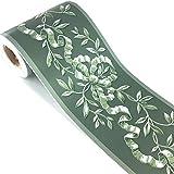 Autoadesivo verde rattan floreale carta da parati, adesivo decorativo da parete e soffitto, impermeabile, 10 cm x 10 m