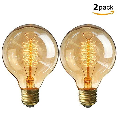 KINGSO 2X Edison Glühbirne E27 Retro Globe Glühlampe 40W Vintage birne dimmbar Filament Fadenlampe Ideal für Nostalgie und Antik Beleuchtung Warmweiß
