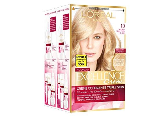 L'Oréal Paris - Excellence Crème - Coloration Permanente Triple Soin 100% Couverture Cheveux Blancs - Nuance 10,00 Blond Très Très Clair - Lot de 2