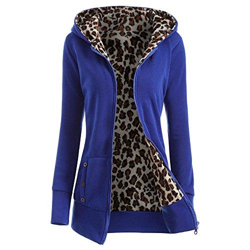 Hannea Zipper Fly Thicken Leopard Pattern Hoodie
