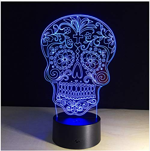 Tag Der Toten Sugar Skull Light Usb/Batterie 7 Farbwechsel Led Schreibtischlampe Tischleuchte Mit Touch-Taste Home Decor Lampe Fernbedienung