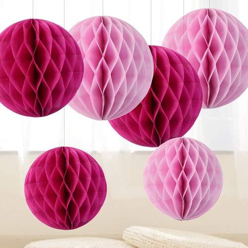 6er Papier Pompoms Wabenball Wabenbälle Rosa Pink Dekobälle Honeycomb Balls Set Deko Party Hochzeit Geburtstag Weihnachten Baby Shower Feier Zeremonie Dekoration - 15cm, 20cm
