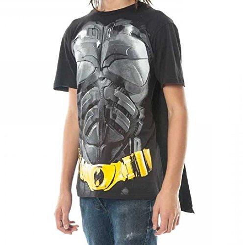 Batman Dark Knight Erwachsene Schwarz Kostüm T-Shirt with Cape - Dark Superman Kostüm