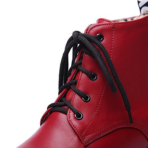 Pelle Solido Agoolar In Rossa Tallone Colore Arrotondare Potrebbe Pizzo Stivali Donna Basso vpxxA