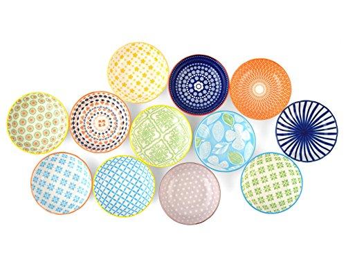 H&H H&H Lot de coupelles assorties,en porcelaine, décorées, 9 x 9 x 2 cm