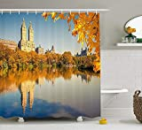 Jolly2T New York Shower Curtain, Central Park at Sunny Day in Fall Historical Monument City Scenery, Fabric Bathroom Decor Set with Hooks, 60 x 72 Inches, Marigold Cream Light Blue