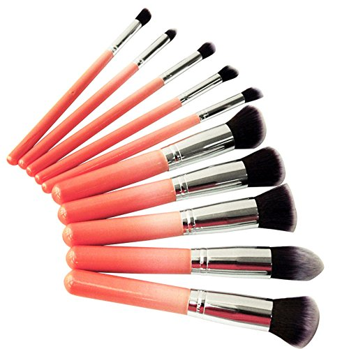 BlueCookies Kit De Pinceau Maquillage Professionnel 10PCS Rose Eyebrow Shadow Blush Fond De Teint Anti-Cerne