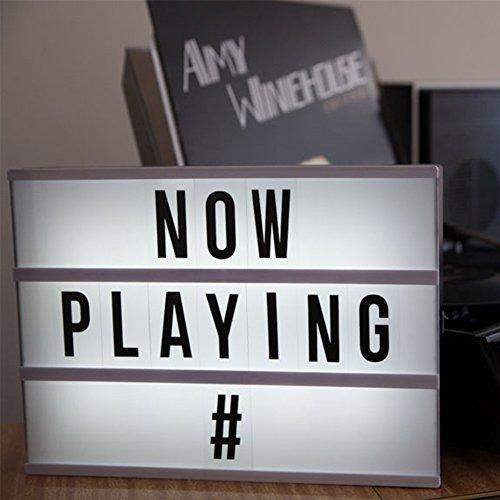& YOUGO Cinema Light Box con 90 lettere combinazione libera ha condotto la luce, per la casa, nozze, compleanni Party, Servizi Fotografici, formato A4 prezzo