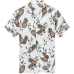 Hecho en Hawaii Camisa Hawaiana de los Hombres Camisa Hawaiana XL Piña Dorada en Blanco