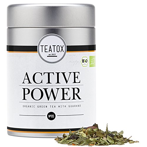 TEATOX Active Power Tee, Bio Grüntee mit Guarana (loser Tee im Grobschnitt in Tee-Dose)