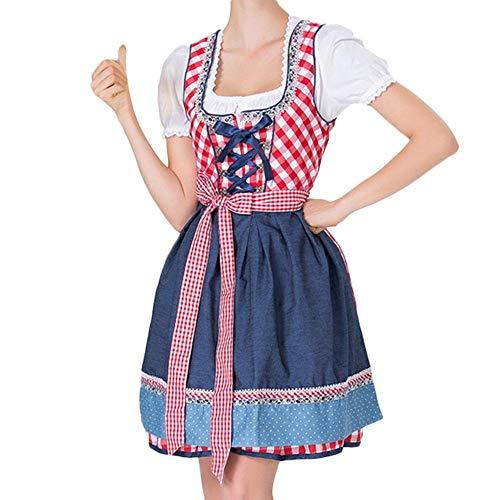 Chejarity 3 TLG Damen Frauen Oktoberfest Kostüm: Kleid, Bluse, Schürze Maid Kostüm Tavern Bierfest Cosplay Halloween Trachtenkleid Bayerisches Bier Mädchen Drindl Spleiß Minikleid (M, - Frauen Verführerische Maid Kostüm