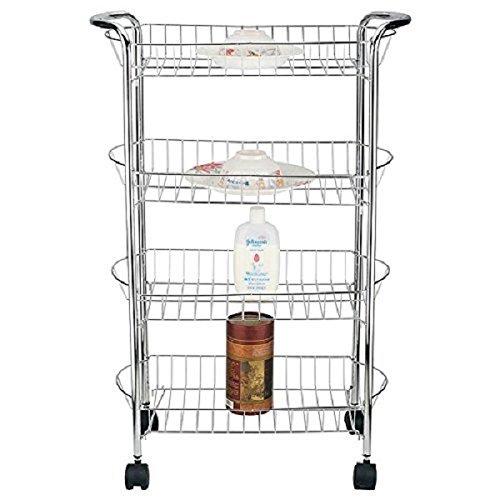St@llion Küche Badezimmer Rolling Regal Warenkorb Küche Gemüse Trolley, 4 Basket - Rolling Unterschrank