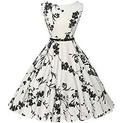 Damen rockabilly kleid 50er jahre kleid Blumenmuster festliche kleider Sommerkleid Größe M CL6086-11