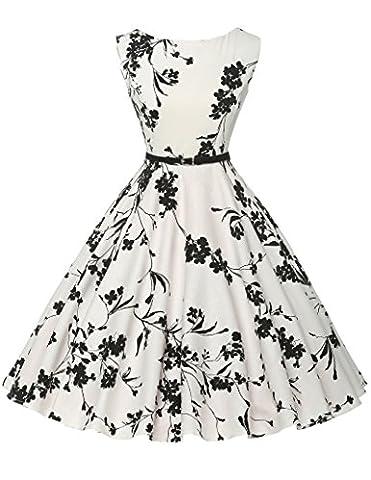 Damen rockabilly kleid 50er jahre kleid Blumenmuster festliche kleider Sommerkleid Größe M