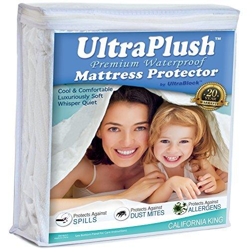 UltraPlush Premium Matratzenschoner, wasserfest, superweich, leiser Bezug California King weiß (Split King California Bettwäsche)