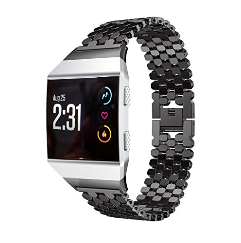 samLIKE Solid Stainless Steel Accessory Watch Strap Metal Bands For Fitbit Ionic (schwarz)