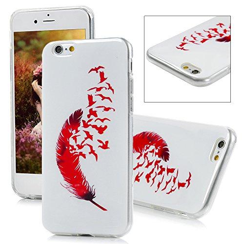 "iPhone 6 /iPhone 6S (4.7"") YOKIRIN Case Cover Hülle TPU Helle Rote Feather Muster Schale Painted Gemalt Durchsichtig Transparent Etui Protective Shell Soft Schutzhülle Motiv 3"