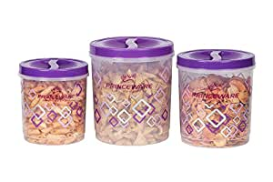 Princeware Twister Plastic Package Container Set, 3-Pieces, Violet