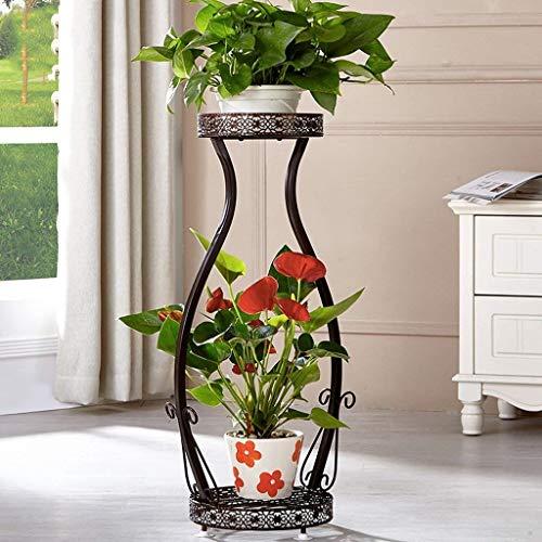 Genven Vintage Displayregal Europäische - Tyle Iron Art 2 Tier Blumentopf Rack Indoor Wohnzimmer Balkon Ru t - Beweis Pflanze Di Play tand (Farbe: Weiß) (Farbe : Brown)