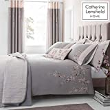 Catherine Lansfield Embroidered Blossom Set Copripiumino, Poliestere, Grey, King