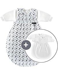 Alvi Baby Mäxchen Original / Ganzjahres Baby-Schlafsack - 3-tlg. mit gefüttertem Außensack und 2 Innensäcken mit Ärmeln / mitwachsend / Birnenform - Silber Grau