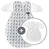 Alvi Baby Mäxchen Original/Ganzjahres Baby-Schlafsack - 3-tlg. mit gefüttertem Außensack und 2 Innensäcken mit Ärmeln/mitwachsend / Birnenform - Triangel Silber Grau (50/56)
