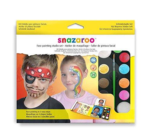 Fancy Kostüm Comic Dress Buch - Snazaroo Schminkfarben Studio Set, Schminkpalette mit Pinsel, 2 Schwämmchen und Schminkbuch, 9 Farben