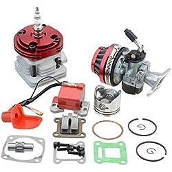 GOOFIT 44mm red Cylinder Carburateur Filtres à air ignition coil Set Big Bore 53cc 54cc Top Kit of Piston For 47cc 49cc 2-stroke Engine Pocket Bike Atv Quad Motocross